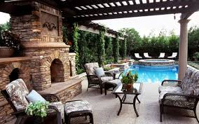 Pool With Pergola by Awesome Stone Fireplace Inside Luxury Patio With Nice Pergola