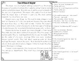 the office of mayor differentiated reading passages u0026 questions tpt