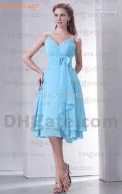Light Blue Chiffon Dress Light Blue Bridesmaid Dresses Chiffon Spaghetti Pleats With