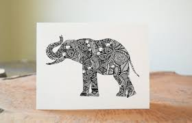 elephant art black and white art pen and ink animals