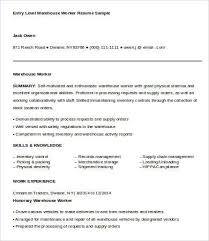 Sample Warehouse Resume by Warehouse Worker Resume 7 Free Sample Example Format Free