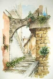 carrer montanyans ciutat vella barcelona watercolor joaquim