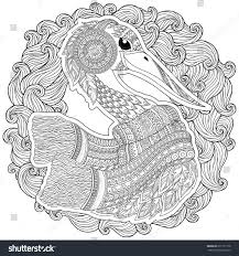 zentangle hand drawn stork anti stock vector 611137178