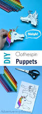 dragon and unicorn clothespin puppets with free printable designs