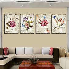 home interior paintings 4 pieces classic floral wall canvas prints flower combination