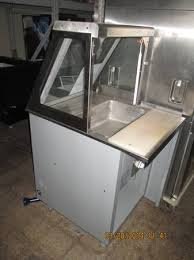 steam table with sneeze guard single well food warmer w cabinet sneeze shield and cutting board