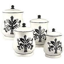 fleur de lis kitchen canisters amazon com tuscany fleur de lis just black white ceramic 4