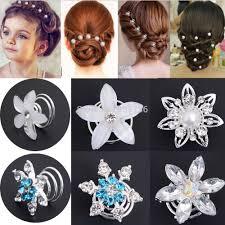 hair spirals 2pcs pearl wedding bridal hair pins twists coils flower