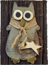 owls home decor large hanging wooden owl about primitive crafting pinterest