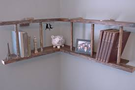 creative l shaped bookshelf with ladder on corner wall decor of