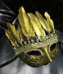 gold eye mask eyemask feathers masquerade party fancy dress