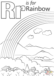 letter r is for rainbow coloring page printable pages