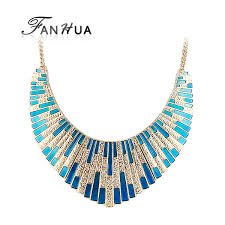 big necklace images Fanhua new geometric choker big necklace blue enamel bib statement jpg