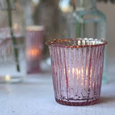 light holder pink ribbed mercury glass candle tea light holders x17