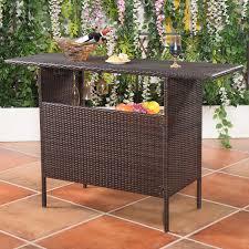 Good Rattan Specification Outdoor Patio Rattan Bar Counter Table Outdoor Tables Outdoor