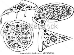 cartoon vector outline illustration pizza stock vector 45241597
