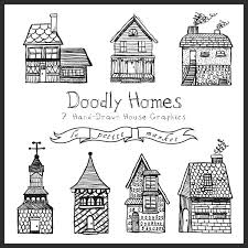 Cute Homes by Hand Drawn Buildings Clipart Cute Homes Clipart Hand Drawn