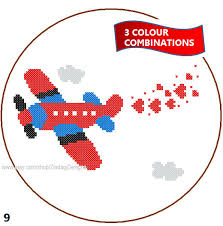 instant download airplane cross stitch pattern 3 colour