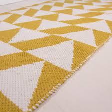 Cotton Flat Weave Rug Yelllow Ochre Geometric Cotton Flatweave Rug Ebba Kukoon