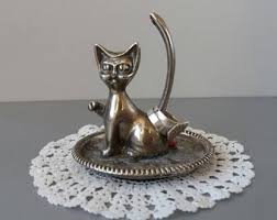 vintage cat ring holder images Metal trinket dish etsy jpg