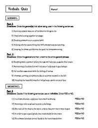 this is a 30 question quiz exam on verbals gerunds infinitives