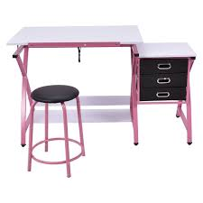 Drafting Table With Computer Black Pink Adjustable Drafting Table Drawing Desk W Stool Art