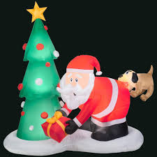 Home Depot Inflatable Christmas Decorations Gemmy 83 86 In L X 43 31 In W X 81 1 In H Inflatable Santa And