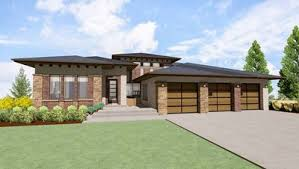 modern prairie house plan for a rear sloping lot 64421sc