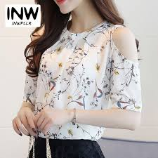 open shoulder blouse 2018 summer style 2017 floral shirt for womens open