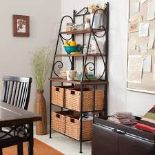 Wrought Iron Bakers Rack With Glass Shelves Belham Living Sutter Bakers Rack With Baskets Hayneedle