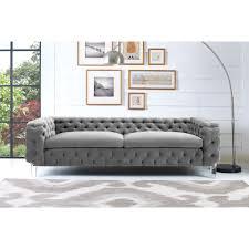 Tufted Sofa Velvet by Furniture Bryn Grey Velvet Sofa By Tov Furniture With Tufted Side