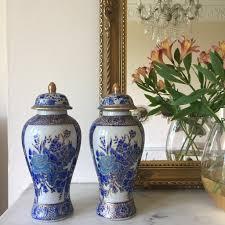 Cobalt Blue Vases Pair Of Vintage Blue Vases Paire De Vases En Ceramique Bleus