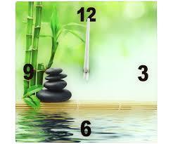 Grande Horloge Murale Pas Cher by Horloge Pendule Murale En Verre Zen Colonne Galets Bambou Eau 3793