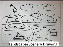 How To Draw Landscapes by How To Draw Landscape By Deepak Drawing Class Youtube