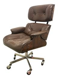 Leather Office Chair Eames Style Rosewood U0026 Leather Office Chair Chairish