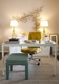 cute home office wall decor with white office room and yellow