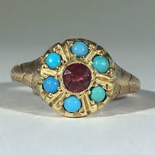 tourmaline opal vintage turquoise and tourmaline ring 14k yellow gold art nouveau