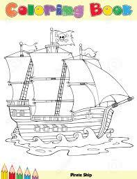 pirate ship coloring book royalty free cliparts vectors