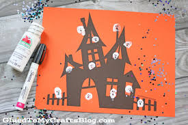 thumbprint ghost haunted house kid craft idea w free printable
