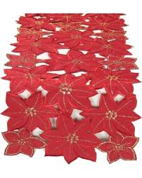 christmas table linens sale slash prices on xia home fashions festive poinsettia embroidered