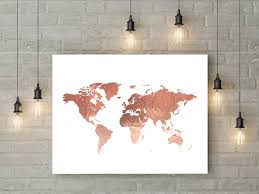World Map Poster Large Rose Gold World Map Poster Large World Map Print Faux Foil Map