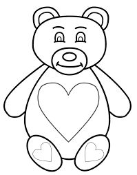 teddy bear with hearts on chest and feet coloring page mother u0027s