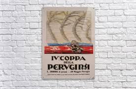 italian art deco period race car poster by federico seneca 1927