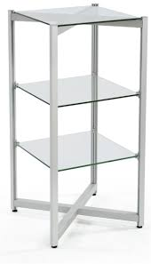 tiered glass shelving display 3 levels