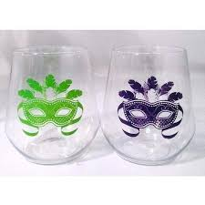 mardi gras glasses mardi gras mask stemless wine glasses party cup express