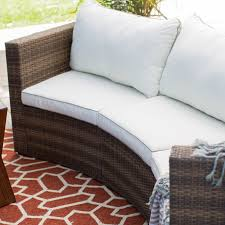 Curved Wicker Patio Furniture - coral coast albena all weather wicker curved sofa sectional