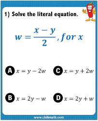 literal equations quiz u2013 chilimath