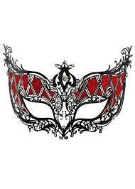 metal masquerade mask harlequin black and deluxe metal masquerade mask
