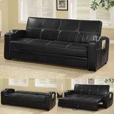 Faux Leather Sofa Sleeper Arlington Collection 300132 Black Futon Black Futon Coasters
