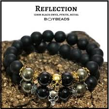 onyx beads bracelet images Reflection quot by boybeads natural 10mm matte black onyx goldtone 15059